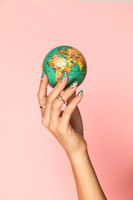 World Map Nail Art Design